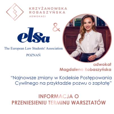 Warsztaty KR Adwokaci iELSA Poznań